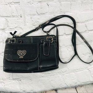 Brighton multi Pocket hand bag purse black leather